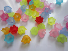 50 x Transparent Acrylic Bead caps Frosted Flower Mixed colour 10x9x6.5mm