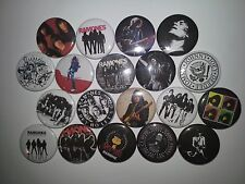19 The Ramones Pin Badges 25mm punk rock Joey Dee Dee Johnny Marky