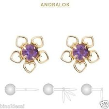 9ct Gold Andralok 8mm Heart Flower 3.5mm Amethyst Studs Earrings B'Day GIFT BOX