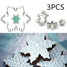 3PCS Biscuit Cookies Snowflake Cutter Mould Cake Fondant Decorate Mold Tool Xmas
