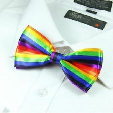 1 x mens silk bow tie bowtie wedding party rainbow ladies girls fancy dress new