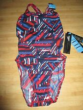 NEW Speedo Size 0 26 ATHLETIC Swimsuit RACING Blue Red  White $82 Retail