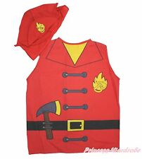 Halloween Party Fireman Fighter Vest Top Hat Cap Unisex Kids Uniform 2P Costume