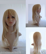 @7 Beauty Long Straight Layered Blonde Salon Wigs Hair Perücke A22