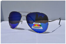 Mens Womens  Large 100% UV40 BLUE  POLARIZED Aviator Sunglasses Spring Hinge 05