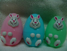 EASTER EGGS/CANDY HOLDERS 1 PINK BLUE GREEN W/BUNNIES FRONT CUTE FREE SHIPPING