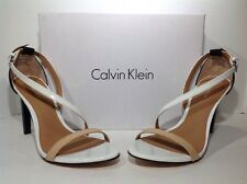 Calvin Klein Women's Size 6 Narwhal White Beige Patent Leather Heels ZD-1060