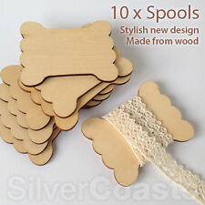 10 x Spools, Wooden flat blank thread ribbon twine reel organizer, Zakka craft
