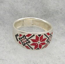 Sterling Silver Ring With Ukrainian Embroidery Design,Red&Black Enamel,Size 9