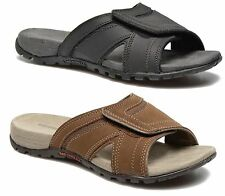 MERRELL J276749C Sandspur Pine Men Leather Sandals Size 9 M Black/Granite $95