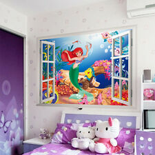 3D The Little Mermaid DIY Wall Stickers For Kids Rooms Home Window Decoration