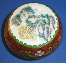 c.1950 Vintage Asian Hand Painted ~Romantic Mountain Scene~ Round Cloisonne Box