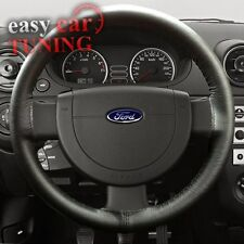 FOR FORD FUSION 02-12 BLACK GENUINE REAL ITALIAN LEATHER STEERING WHEEL COVER