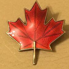 Vintage Mid Century Axel Holmsen Norway Silver Red Enamel Maple Leaf Brooch Pin