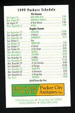 1999 Green Bay Packers Schedule--Packer City Antiques
