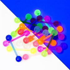 20 Mixed Bioflex Tongue Piercing Bars - 14ga Glow in the Dark - Flexible Shafts