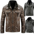 FASHION Mens Slim Fit Stand Collar Brave Soul Jacket PU Leather Coat Tops XS-XL