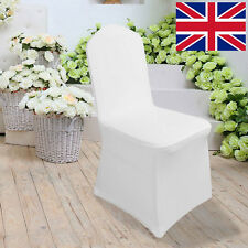 White Wedding Chair Covers For Sale, Lycra Spandex, Flat, Party Decor 100pcs UK