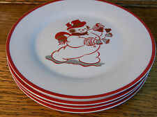 """HOME Christmas Jolly Snowman 8"""" Salad Luncheon Plates set of 4 *never used* HMQ2"""