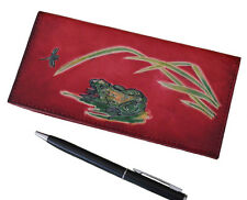 Real Leather Checkbook Cover, Pool Frog & Dragonfly Patterns on the front, Red