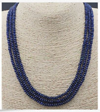NATURAL 3 Rows 2X4mm FACETED DARK Blue Sapphire BEADS NECKLACE AAA