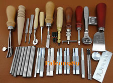 35pcs Leather Craft Sewing Stitching Tool Kit Set Beveler Skiving Groover Punch