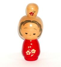 SIGNED JAPANESE WOOD KOKESHI DOLL CUTE GIRL w/ CARVED PLUM BLOSSOM FLOWERS !