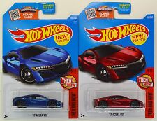 "2016 Hot Wheels: '17 ACURA NSX ""Blue & Red"" 1st. Edition - 2 Car LOT Set - NEW"
