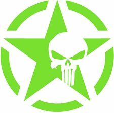 """Army Star Punisher Skull Jeep Military Decal, 5.4"""" x 5.4"""", 2PCS, LIME GREEN"""