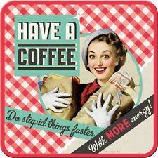 2 Untersetzer für Gläser Metall , Retro, Have a Coffee