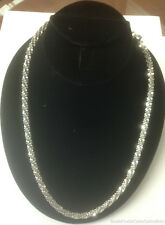 """ESTATE JEWELRY LADIES STERLING SILVER SPARKLE LINK NECKLACE 20"""" CHAIN"""
