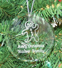 Personalized Crystal Glass Ornament Circle Image Text Christmas Custom Gift