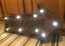 Lighted Welcome Arrow Vintage Style 26 x 14  Metal Man Cave Garage Home Entrance