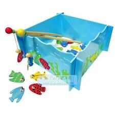 Fun Factory Pretend Play Non-Toxic Wooden Magnetic Fishing Game Tank With 4 Rods