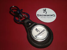 BROWNING `THE BEST THERE IS`  GUNS:  LEATHER KEY RING &  FREE  STICKER