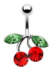 Body Accentz? Belly Button Ring Navel Solitaire Cherry Body Jewelry 14 ...
