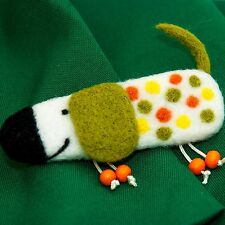 Badger dog kids brooch White felt duchshund pin