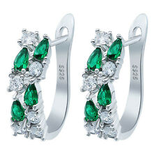 Fashion Jewelry 925 Silver Pear Cut Emerald White Topaz Earcilp Earrings Wedding