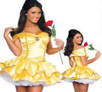 Sexy Princess Belle Ladies Fancy Dress Beauty Costume Fairy Tale Hen Party Outfi