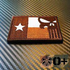 EMBROIDERED TEXAS FLAG PUNISHER MORALE PATCH W VELCRO® BND FREE BLOOD TYPE MEDIC