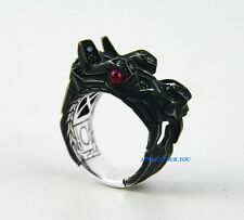 JOHN HARDY BLACK ST. SILVER COLOR CHANGING GARNET RUBY NAGA RING SZ 10 NEW 34R