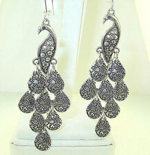 "New  Very Large  Beautiful  Dangly  PEACOCK  Silver-tone Earrings  3-1/2""  long"