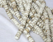 "10x4mm Natural White Turquoise Rondelle Beads 15.5"" Strand"