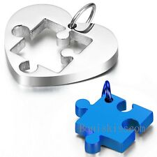 2pcs Mens Womens Couples Stainless Steel Heart Puzzle Pendant Love Necklace