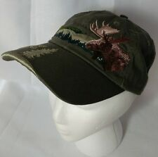 Embroidered Wildlife Hunting Baseball Cap Hat Fishing Camping Moose Adult Green