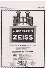 PUBLICITE ADVERTISING 044 1913 Jumelles ZEISS de théâtre