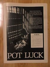 "1972 Print Ad NORML Legalize Marijuana ~ ""Pot Luck"" Dinner in Prison Jail Cell"