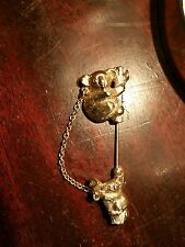 Vintage Brooch Pin SIGNED AVON Stick Pin Hat Koala Bear Mom Baby Gold Tone Old