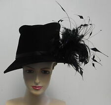 PHILIP TREACY black felt mad hatter side sweep hat with feathers
