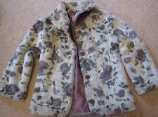 TU Little Girls Soft Faux Fur Floral Coat Jacket Princess Winter Warm 7-8 years